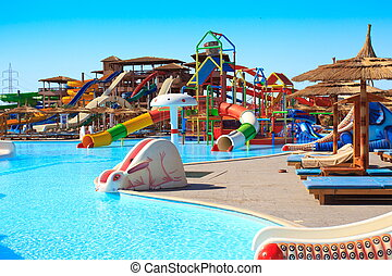 Hotel aquapark - Colorful aquapark with slides at a hotel in...