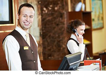 hotel, arbeiter, auf, festempfang