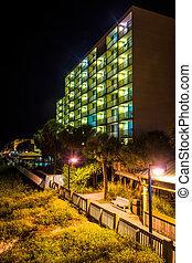 Hotel at night in Folly Beach, Florida.
