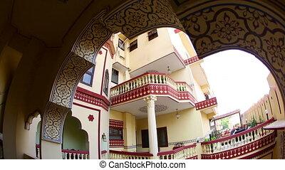 JAIPUR, INDIA - NOVEMBER 19, 2012 : Atrium of a hotel at Jaipur, India, 19, November 2012.