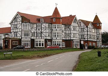 hotel, auf, golfplatz