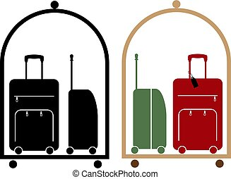 Hotel Baggage Cart Vector Illustration