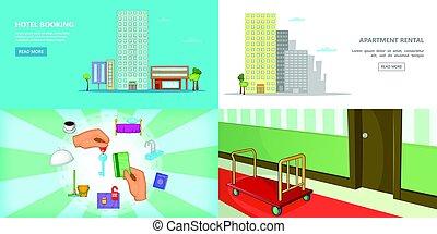 Hotel banner set horizontal, cartoon style