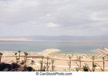 Hotel Beach and Dead Sea landscape
