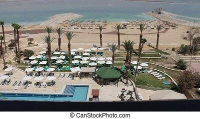 Hotel beach at the Dead sea