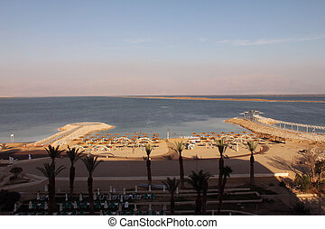 Hotel beach by Dead Sea
