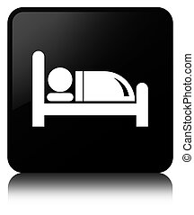 Hotel bed icon black square button