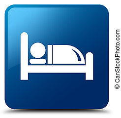 Hotel bed icon blue square button