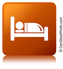 Hotel bed icon brown square button