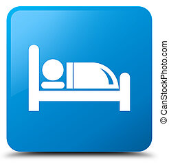 Hotel bed icon cyan blue square button