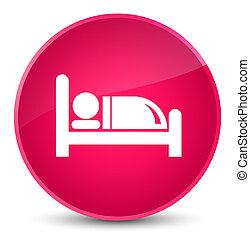 Hotel bed icon elegant pink round button