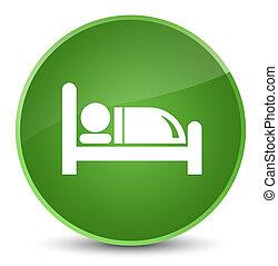 Hotel bed icon elegant soft green round button