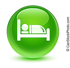 Hotel bed icon glassy green round button