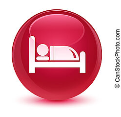 Hotel bed icon glassy pink round button