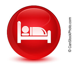 Hotel bed icon glassy red round button