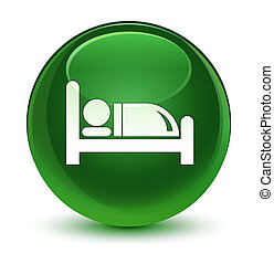 Hotel bed icon glassy soft green round button