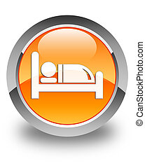 Hotel bed icon glossy orange round button