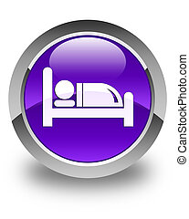 Hotel bed icon glossy purple round button