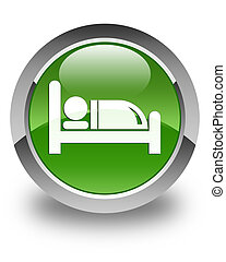 Hotel bed icon glossy soft green round button