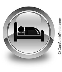 Hotel bed icon glossy white round button