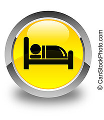 Hotel bed icon glossy yellow round button