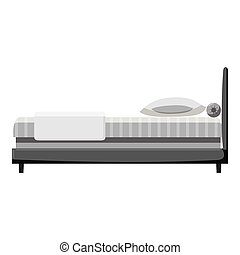 Hotel bed icon, gray monochrome style