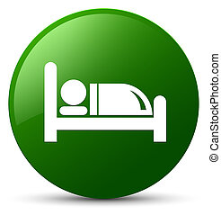 Hotel bed icon green round button