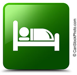 Hotel bed icon green square button
