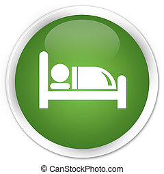 Hotel bed icon premium soft green round button