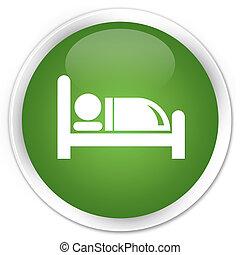 Hotel bed icon premium soft green round button