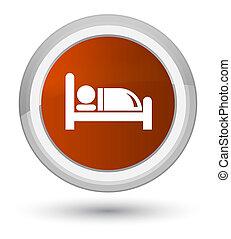 Hotel bed icon prime brown round button