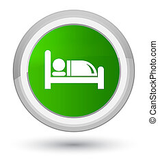 Hotel bed icon prime green round button