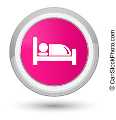 Hotel bed icon prime pink round button