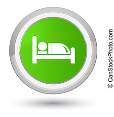 Hotel bed icon prime soft green round button
