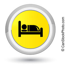 Hotel bed icon prime yellow round button
