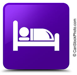 Hotel bed icon purple square button