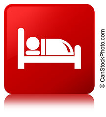Hotel bed icon red square button