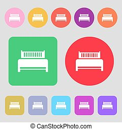 Hotel, bed icon sign. 12 colored buttons. Flat design. Vector