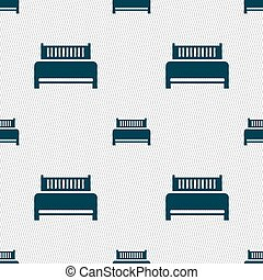 Hotel, bed icon sign. Seamless abstract background with geometric shapes. Vector