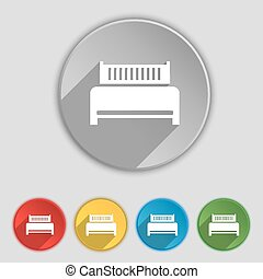 Hotel, bed icon sign. Symbol on five flat buttons. Vector