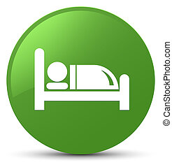 Hotel bed icon soft green round button