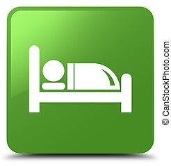 Hotel bed icon soft green square button