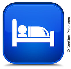 Hotel bed icon special blue square button