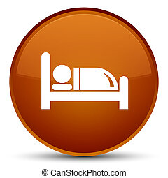 Hotel bed icon special brown round button