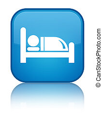 Hotel bed icon special cyan blue square button