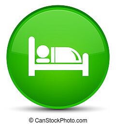 Hotel bed icon special green round button