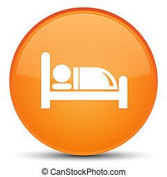 Hotel bed icon special orange round button