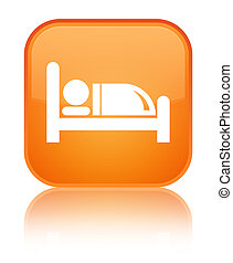 Hotel bed icon special orange square button
