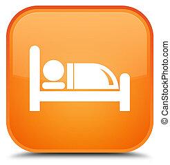 Hotel bed icon special orange square button
