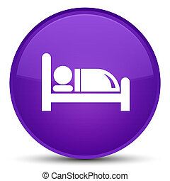 Hotel bed icon special purple round button